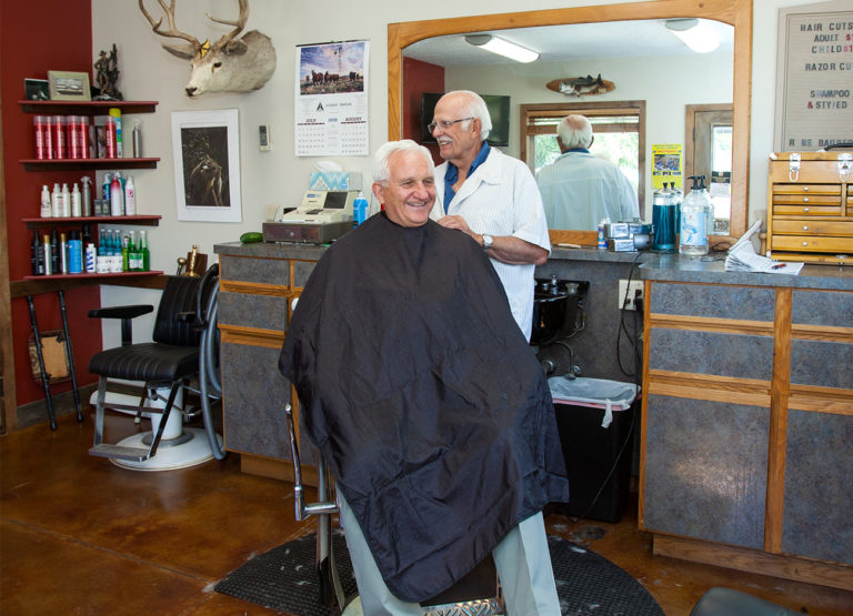 Keith Buswell in a barbershop