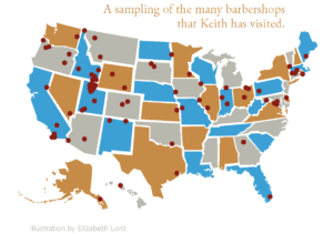 A map of the many barbershops that Keith has visited.