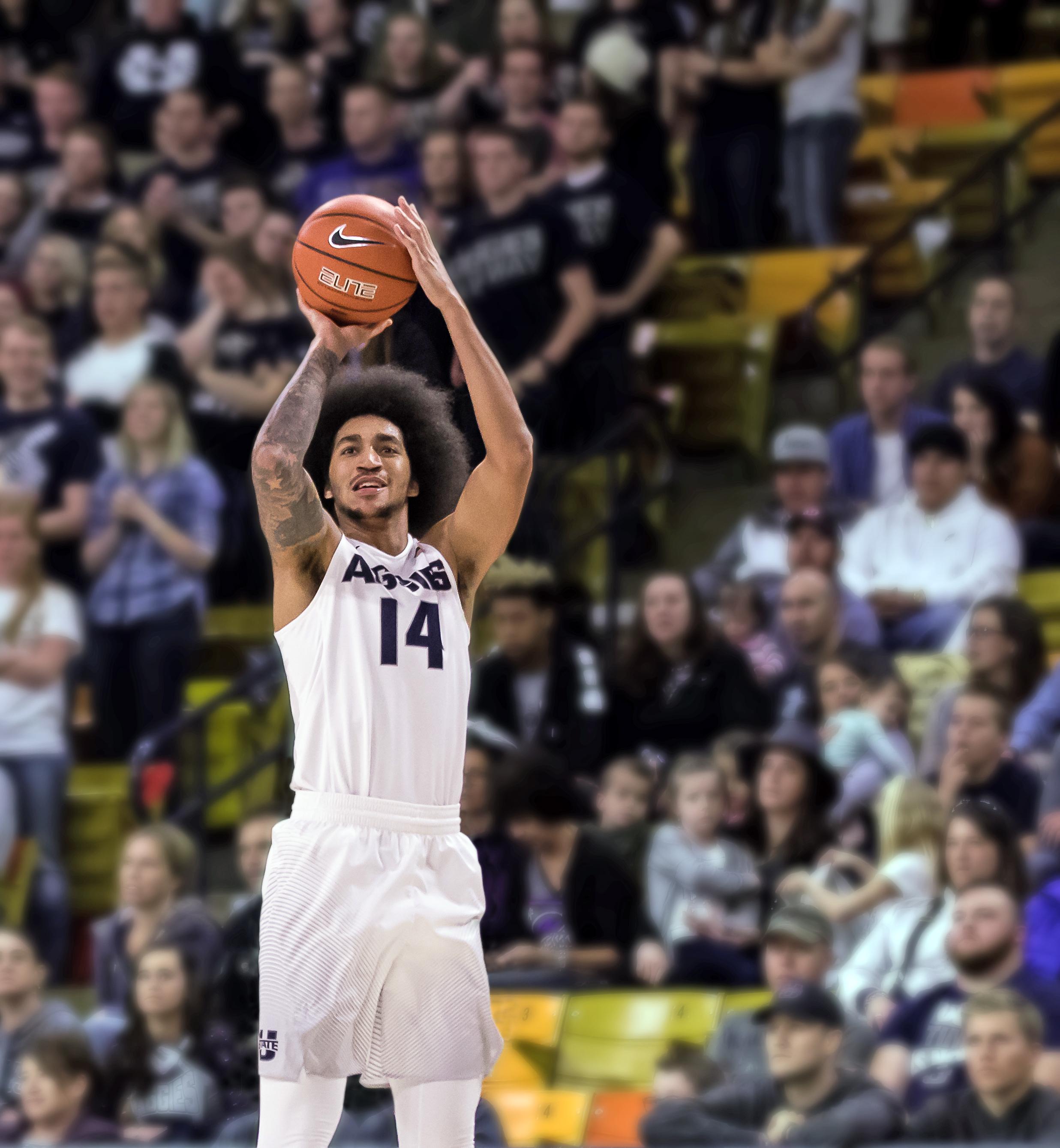 Photo of USU basketball player Jalen Moore
