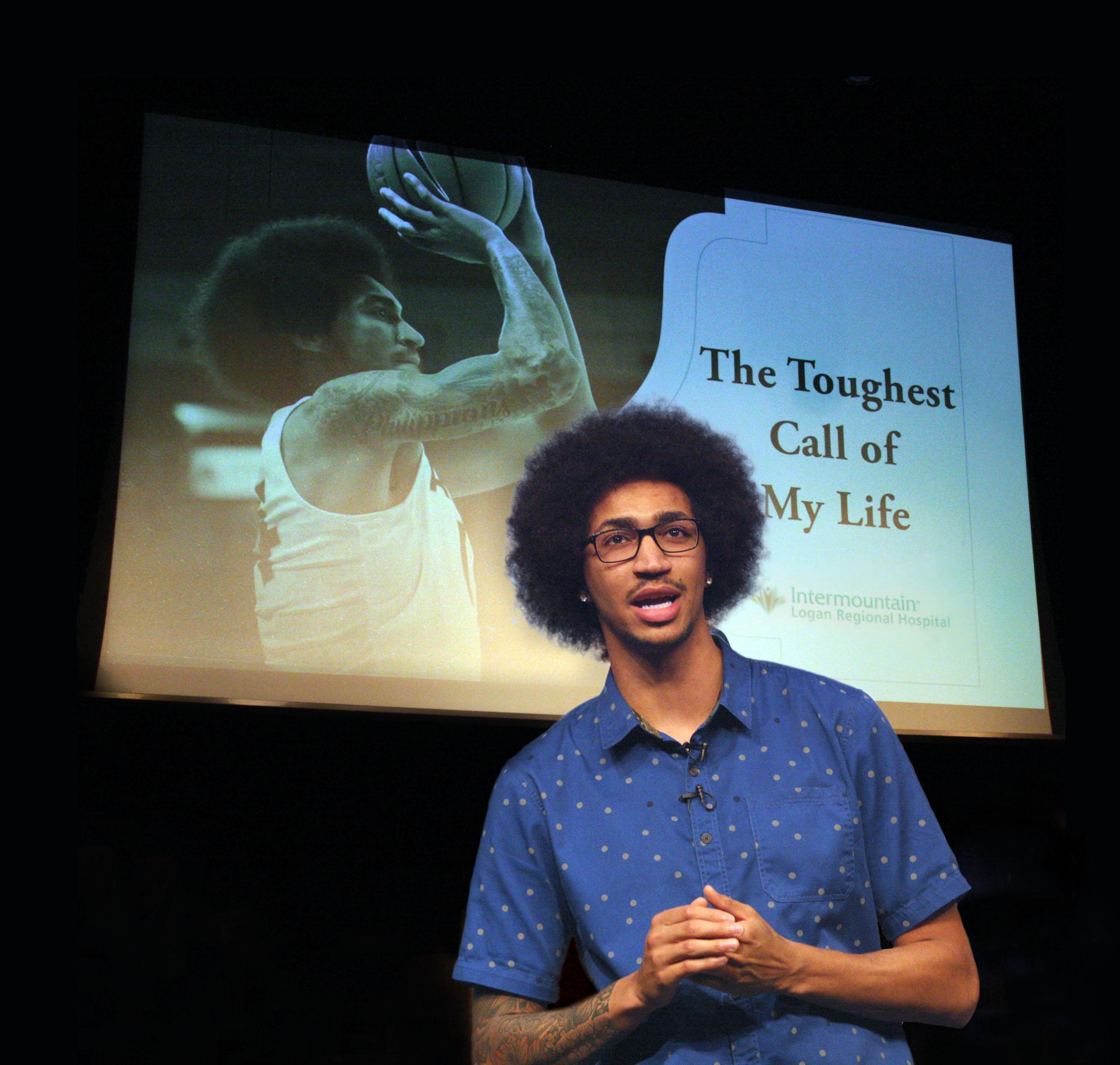 Jalen Moore speaking at Intermountain event