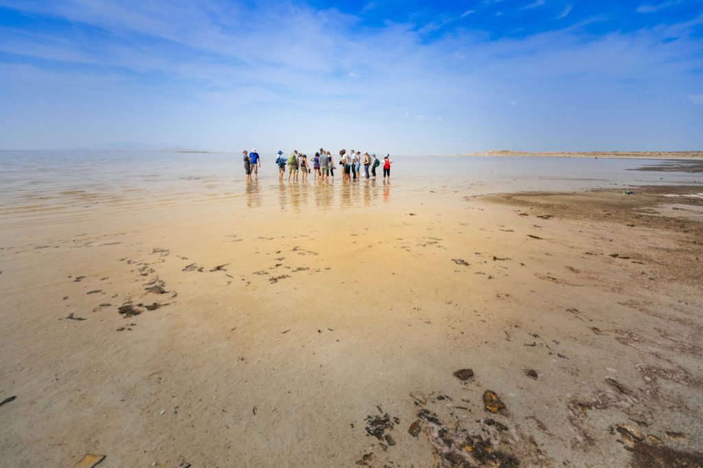 students wade in the waters of the Great Salt Lake