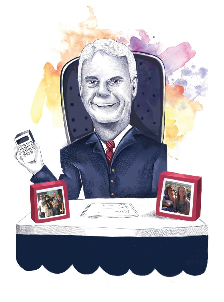 Caricature of Brent Hill at his desk