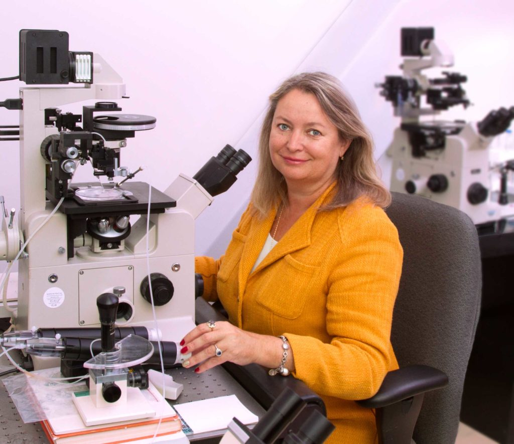 Irina Polejaeva sitting at a microscope