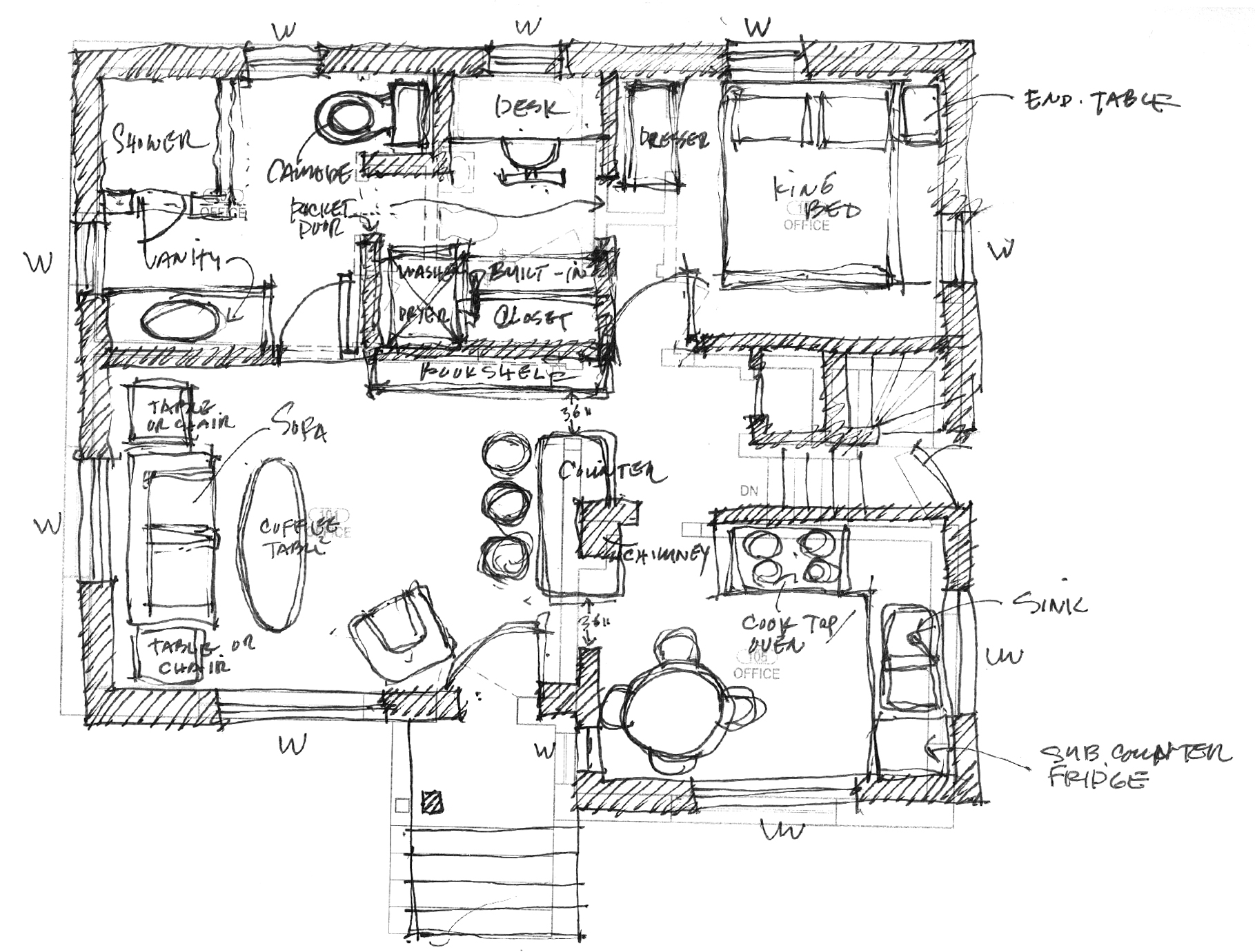 sketch of possible design for the home interior