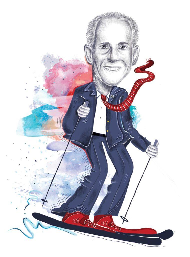 Caricature of Wayne Niederhauser on ski's