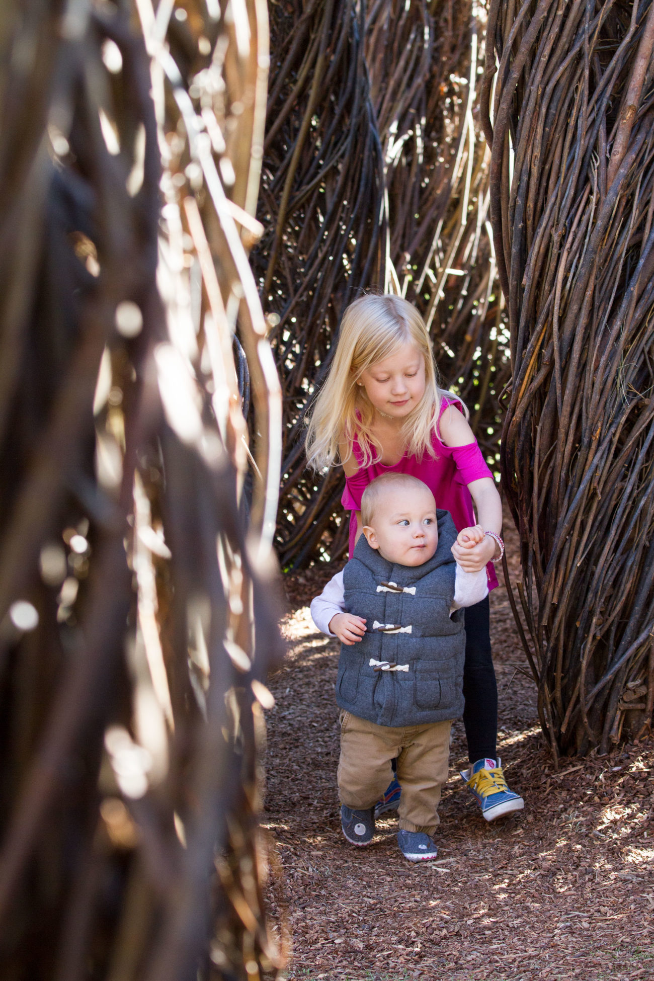 A young girl leads a toddler through a sapling maze.