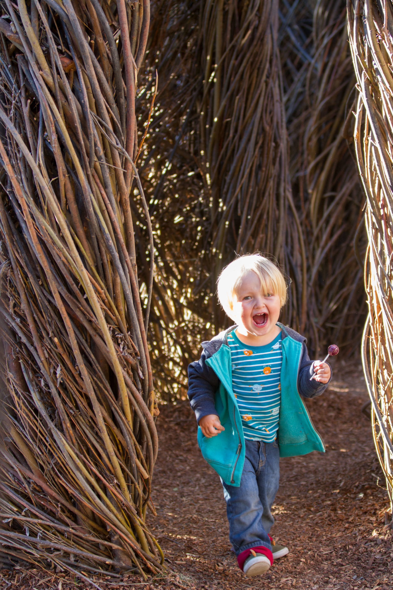 A 2 year-old boy runs through the interactive art installation with a smile on his face.