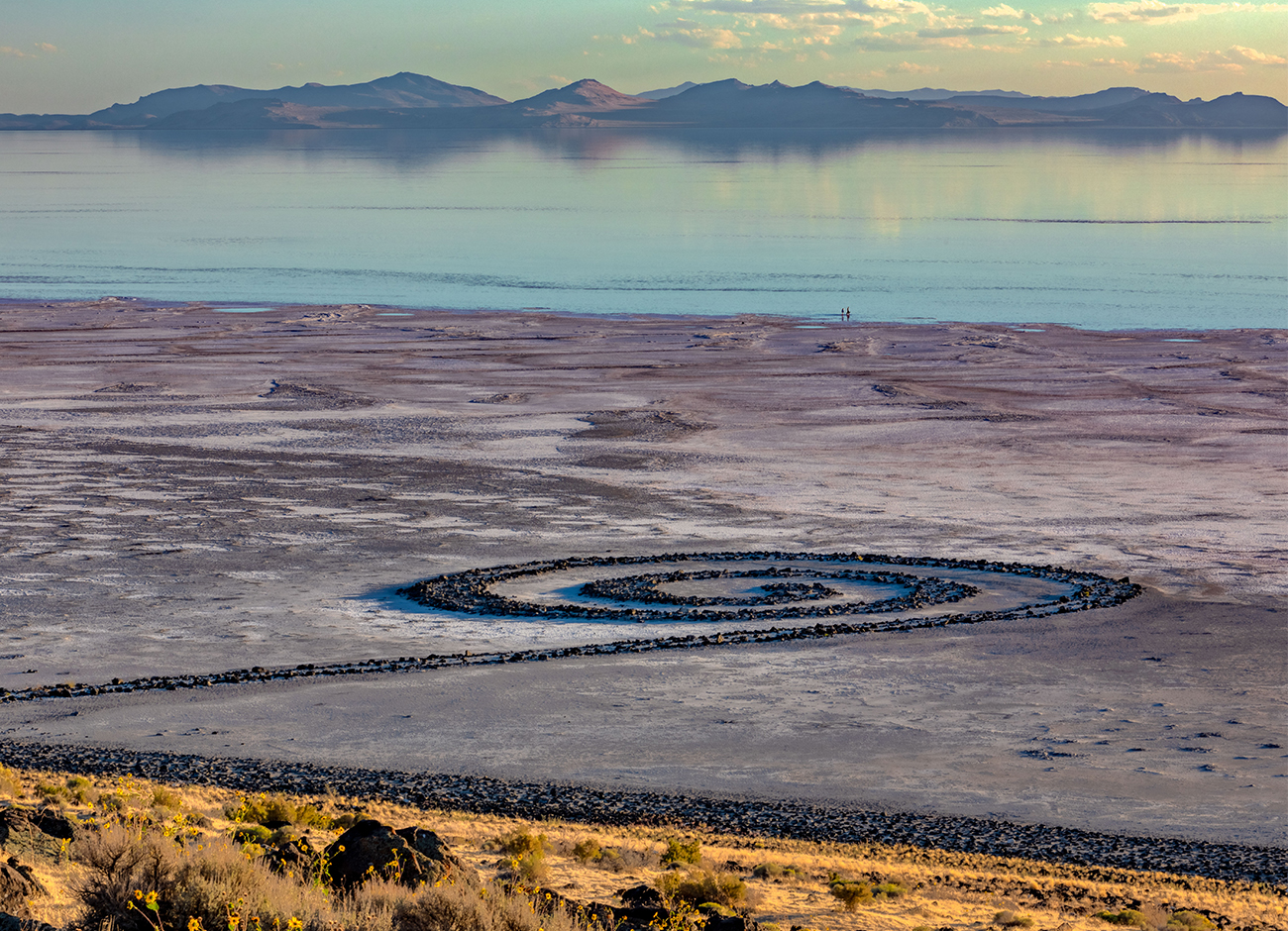 the Great Salt Lake at dusk with the Spiral Jetty