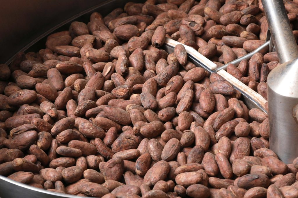 cacao beans in a roaster