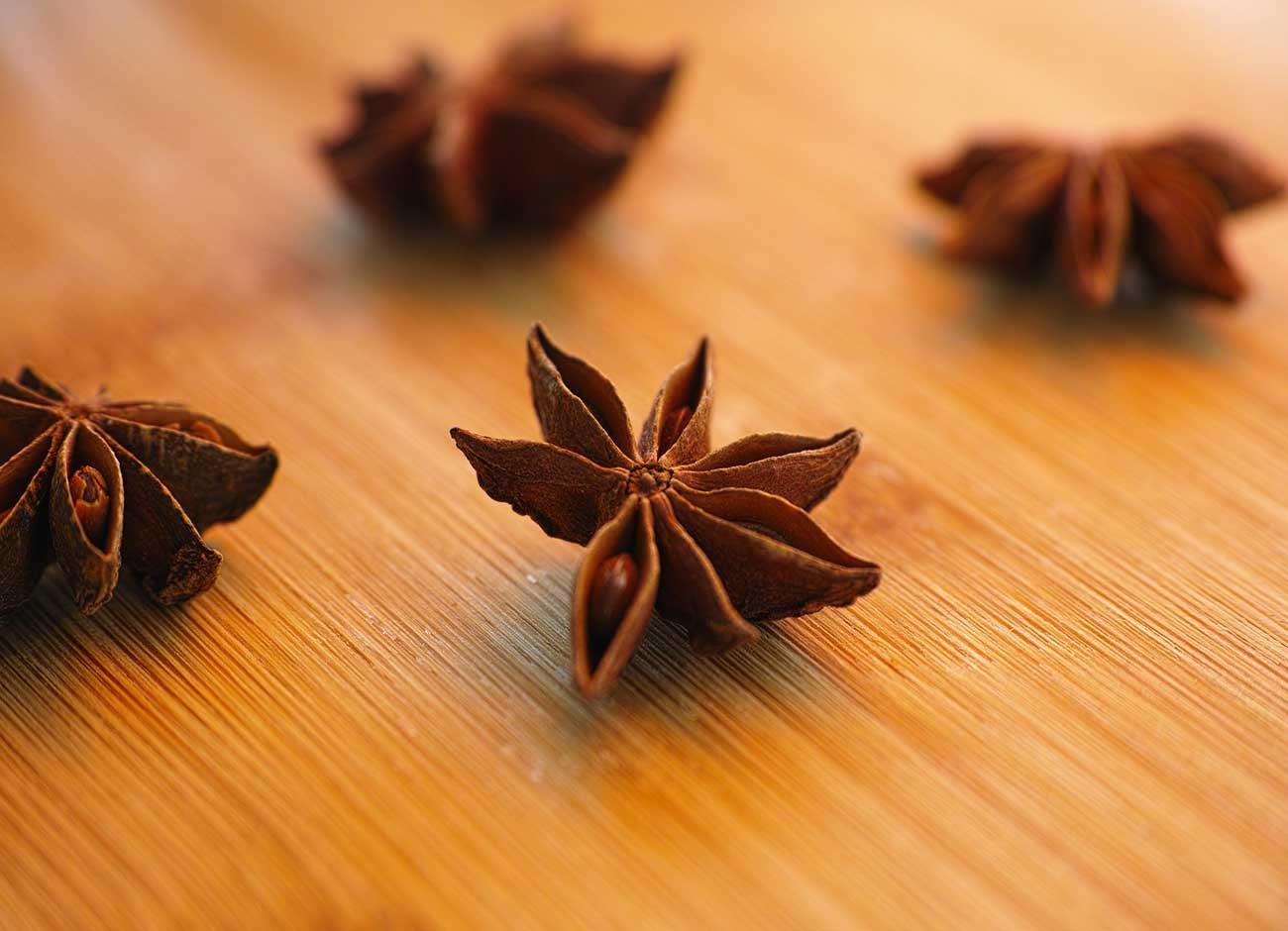 four star anise on a table