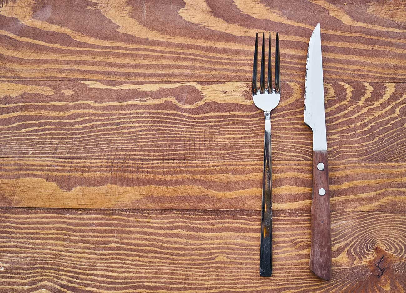 fork and knife on a dinner table