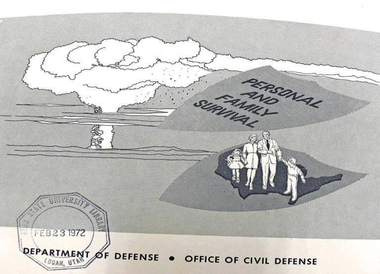 illustration of a mushroom cloud and a family sauntering towards a fallout shelter.