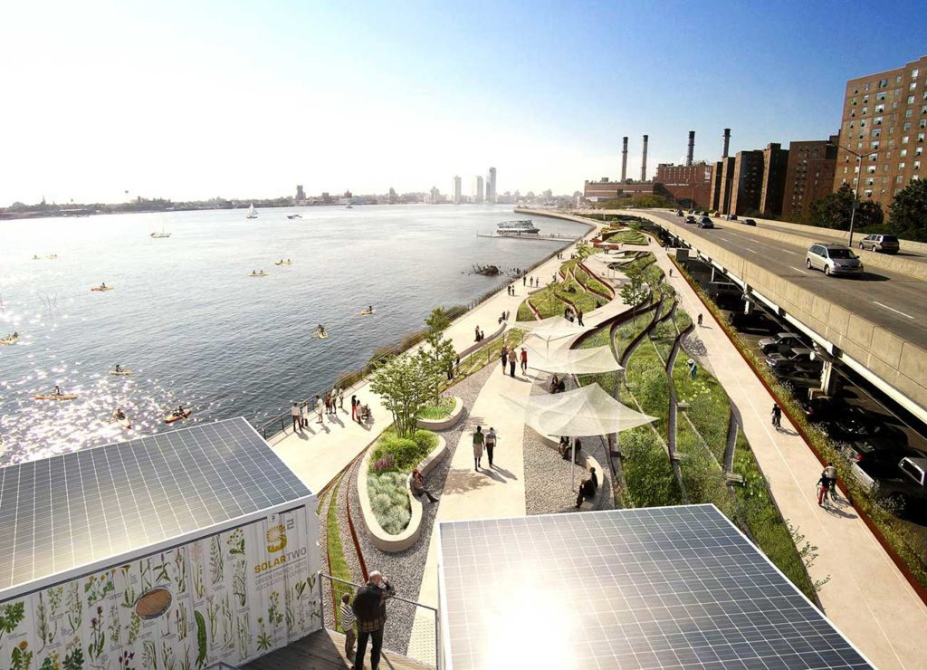people sit, bike, walk and kayak near the imagined greenbelt designed to protect lower Manhattan from future storm events.