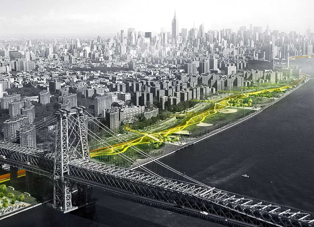 a ribbon of green sweeps 10 miles across lower Manhattan. Berms and bike paths and plantings should mitigate flood risks.