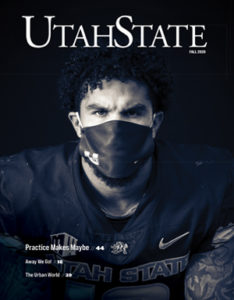 Aggie Football Player wearing a mask