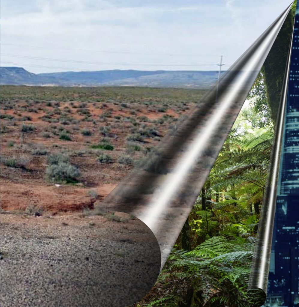 a photo illustration of a vast desert landscape covering a dense fern forest covering an image of computer code