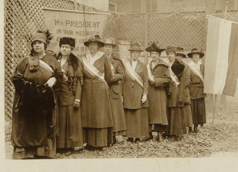 a line of suffragists picket their voting status in Utah in 1917