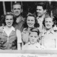 an image of a family of five in black and white taken during August 1941