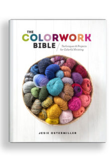 A photo of a bright bowl of yard with words: The Colorwork Bible - Techniques for colorful knitting by Jesie Ostermiller