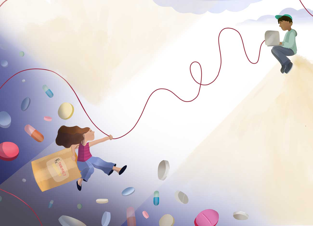 an illustration of a woman holding onto a rope and climbing up and away from pills that are chasing her