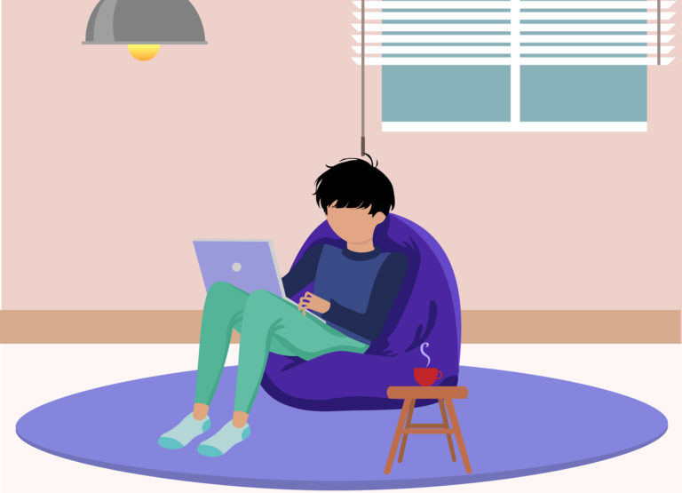 illustration of a student sitting alone in his room with a laptop on his legs