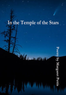 a night sky with trees reflecting in a lake with title: in the temple of the stars, poetry by maragert pettis