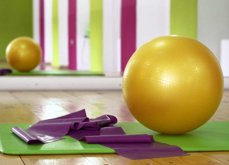 medicine ball and pilates mat