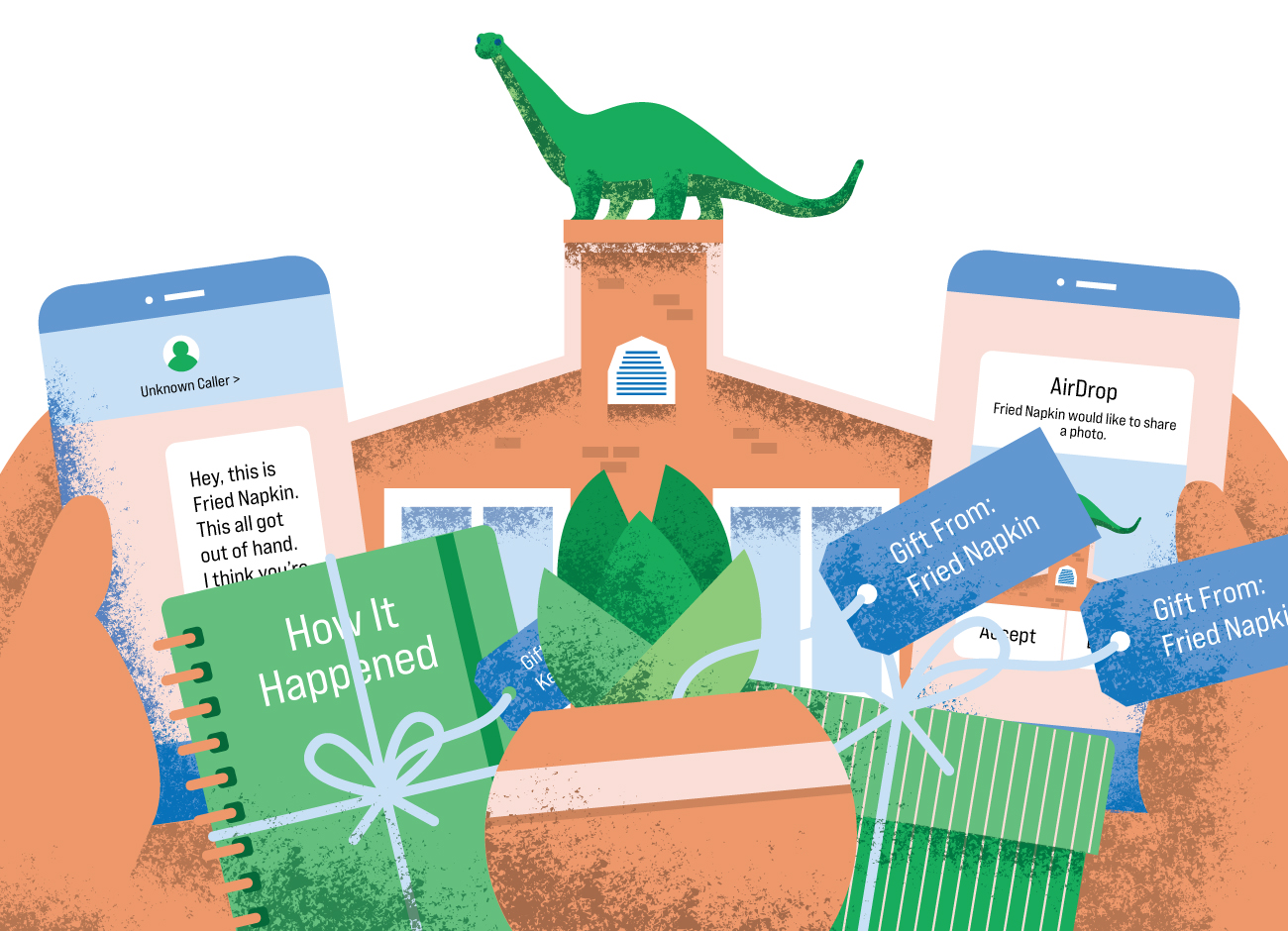 a collage of illustrated presents, a notebook, two phones with text messages, a succulent, and a cartoon dinosaur atop a building