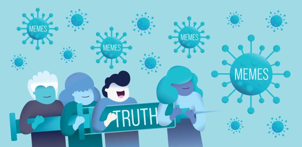illustration of four people hold a large syringe labeled truth and point it memes designed to look like viruses