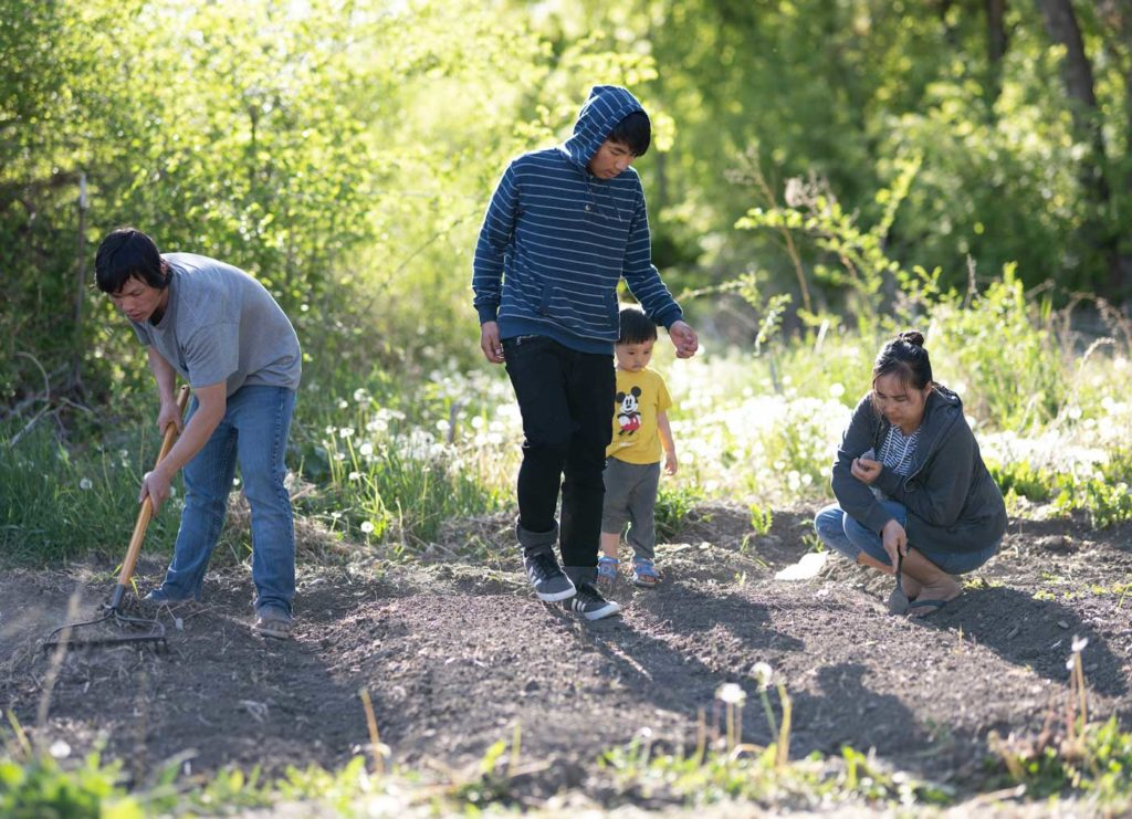 a young refugee family of four rakes their garden plot to prepare for seeds