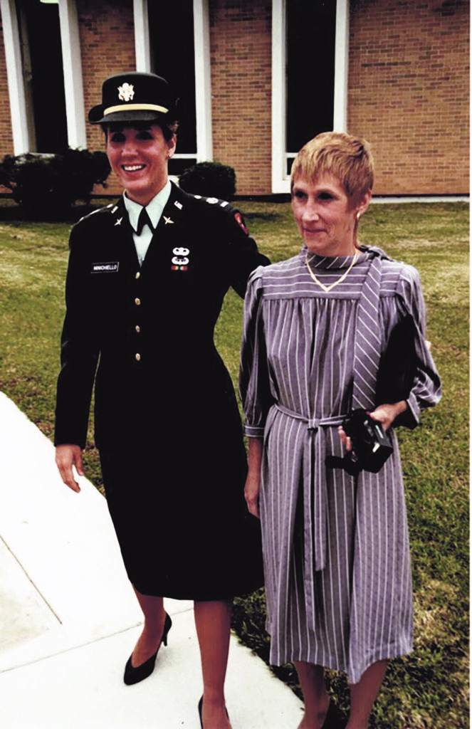 a young Army cadet stands with her mother at West Point on the day she enters the academy.