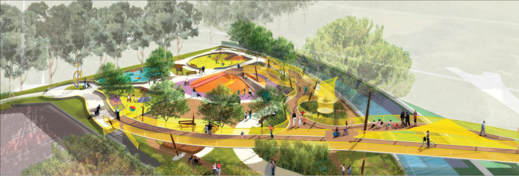 a colorful rendering of a park with ramps where individuals in wheelchairs, on bikes, and persons travel on foot. Trees provide shade spots. The playscape is filled with movable art pieces and benches,