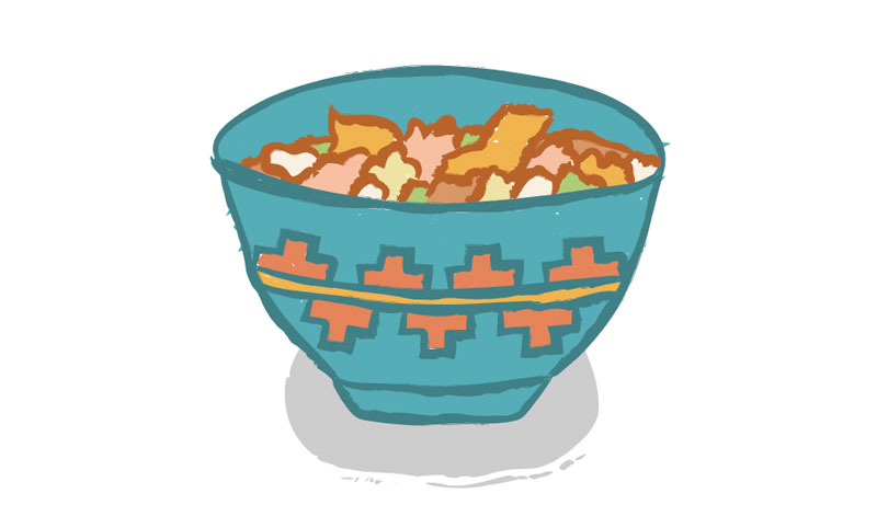 an illustration of a turquoise bowl with southwestern patterning. It contains mutton stew.